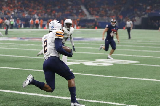 UTSA led UTEP 24-7 at the half of their football game in San Antonio, Texas.