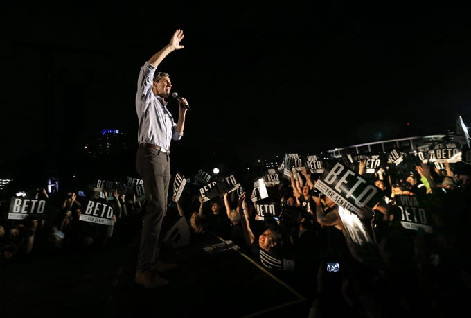 Senate candidate Beto O'Rourke joined Willie Nelson and several other Texas musicians Saturday for a rally and concert at Auditorium Shores in Austin. O'Rourke sang along with Willie Nelson during his performance of On The Road Again.