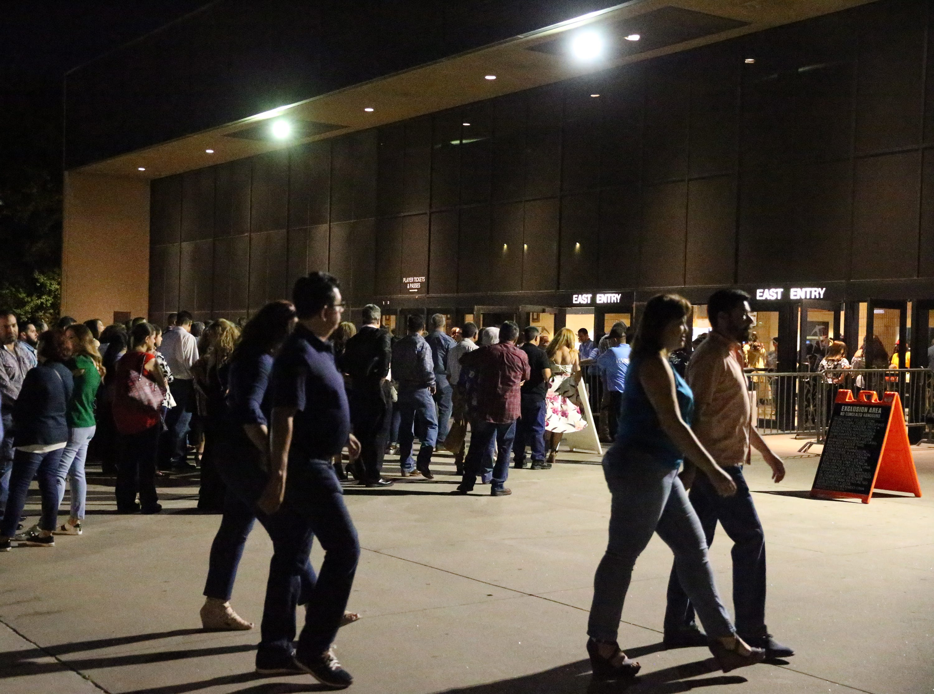 Waitnig to enter the Don Haskins Center Saturday night.