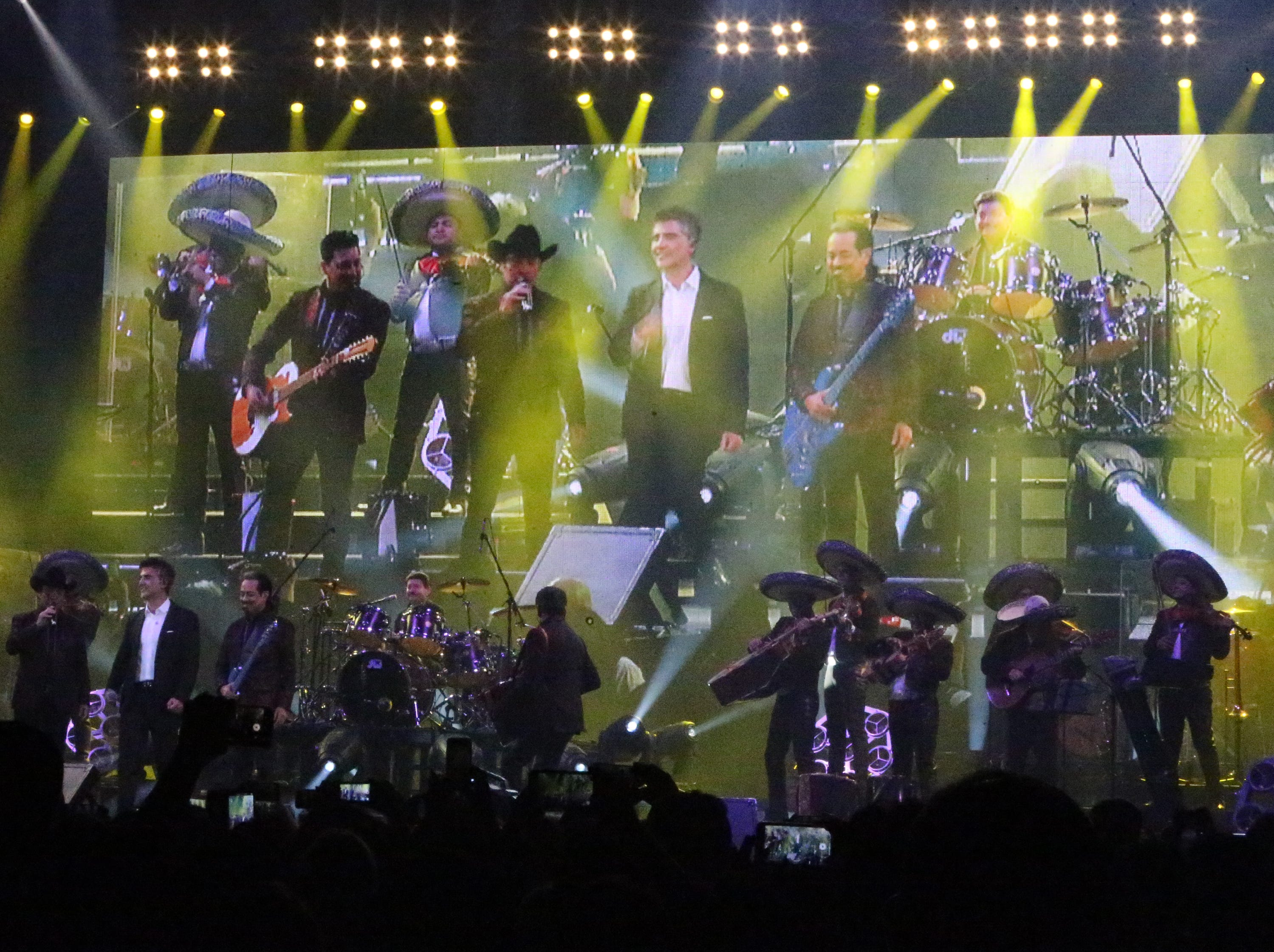 Latin superstar Alejandro Fernandez, center, is joined on stage by Los Tigres del Norte Saturday night in the Don Haskins Center. Fernandez, son of famed Ranchero singer Vicente Fernandez, has sold more than 30 million albums worldwide. He has received two Latin Grammy Awards and, like Los Tigres del Norte, a star on the Hollywood Walk of Fame.