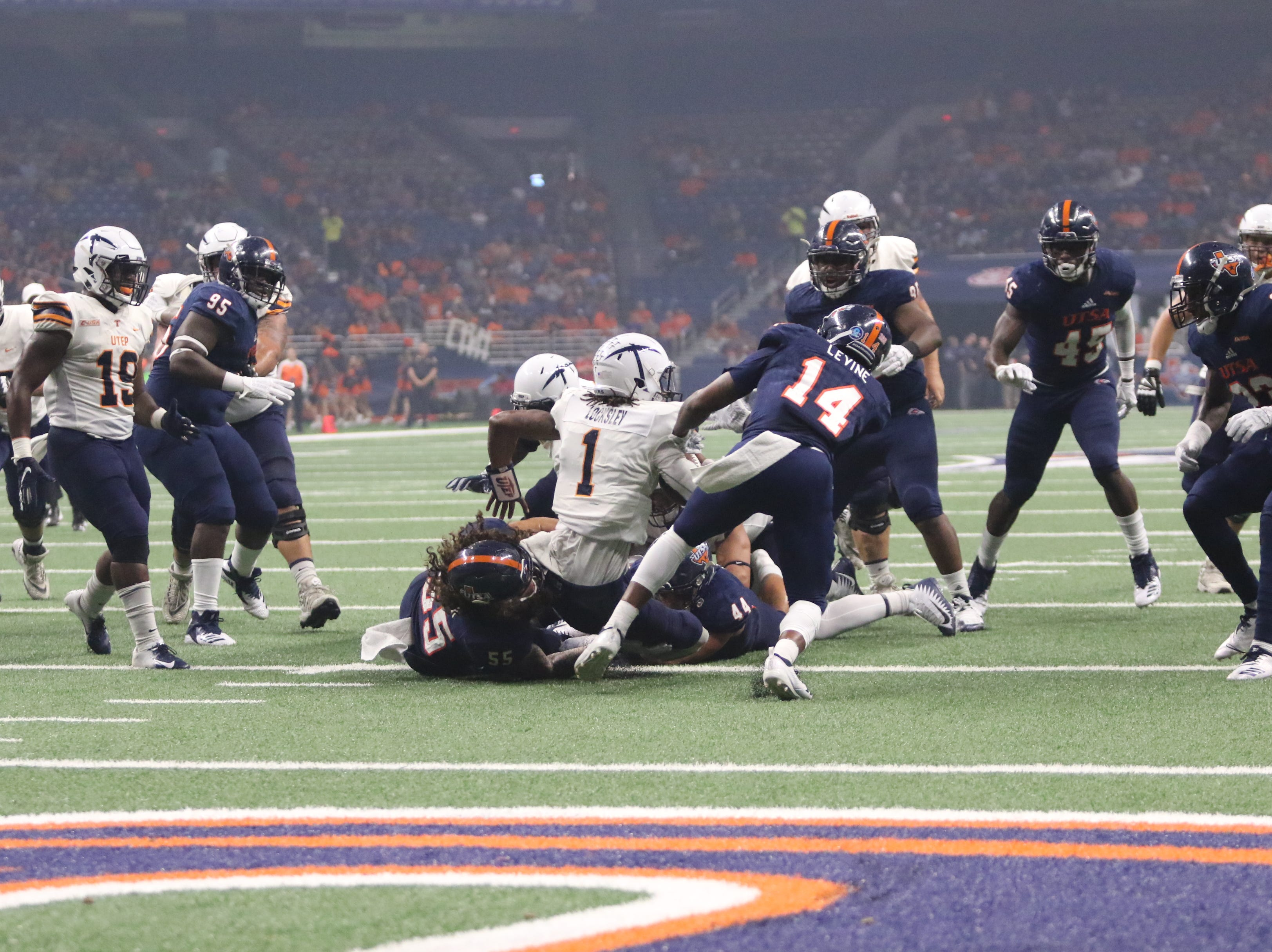 UTSA led UTEP 24-7 at the half of their football game in San Antonio, Texas.