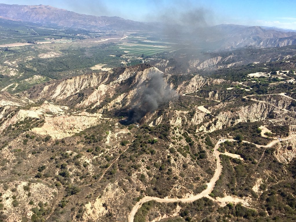 A Ventura County helicopter crew's view of an oil well fire southeast of Santa Paula Sunday.