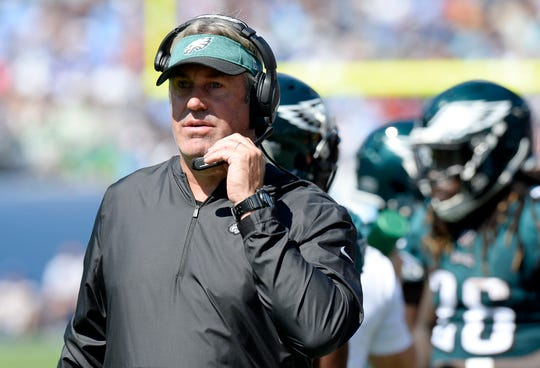 Philadelphia Eagles head coach Doug Pederson watches from the sideline in the first half of an NFL football game against the Tennessee Titans Sunday, Sept. 30, 2018, in Nashville, Tenn. (AP Photo/Mark Zaleski)
