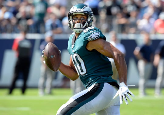Philadelphia Eagles wide receiver Jordan Matthews runs to the end zone to score a touchdown on a 56-yard pass against the Tennessee Titans in the first half of an NFL football game Sunday, Sept. 30, 2018, in Nashville, Tenn. (AP Photo/Mark Zaleski)