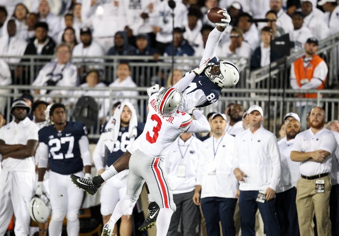 Penn State Nittany Lions wide receiver Juwan Johnson (84) makes a catch during the first quarter against the Ohio State Buckeyes at Beaver Stadium.