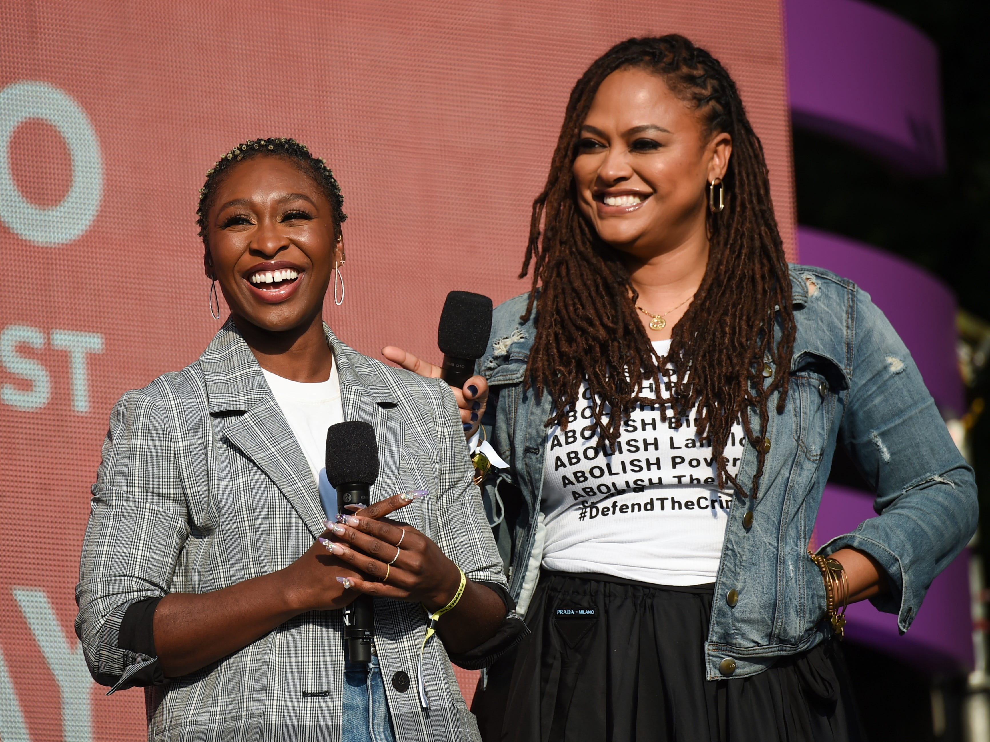 Singer Cynthia Erivo, left, and director Ava DuVernay address the crowd at the 2018 Global Citizen Festival in Central Park on Saturday, Sept. 29, 2018, in New York. (Photo by Evan Agostini/Invision/AP) ORG XMIT: NYEA0162