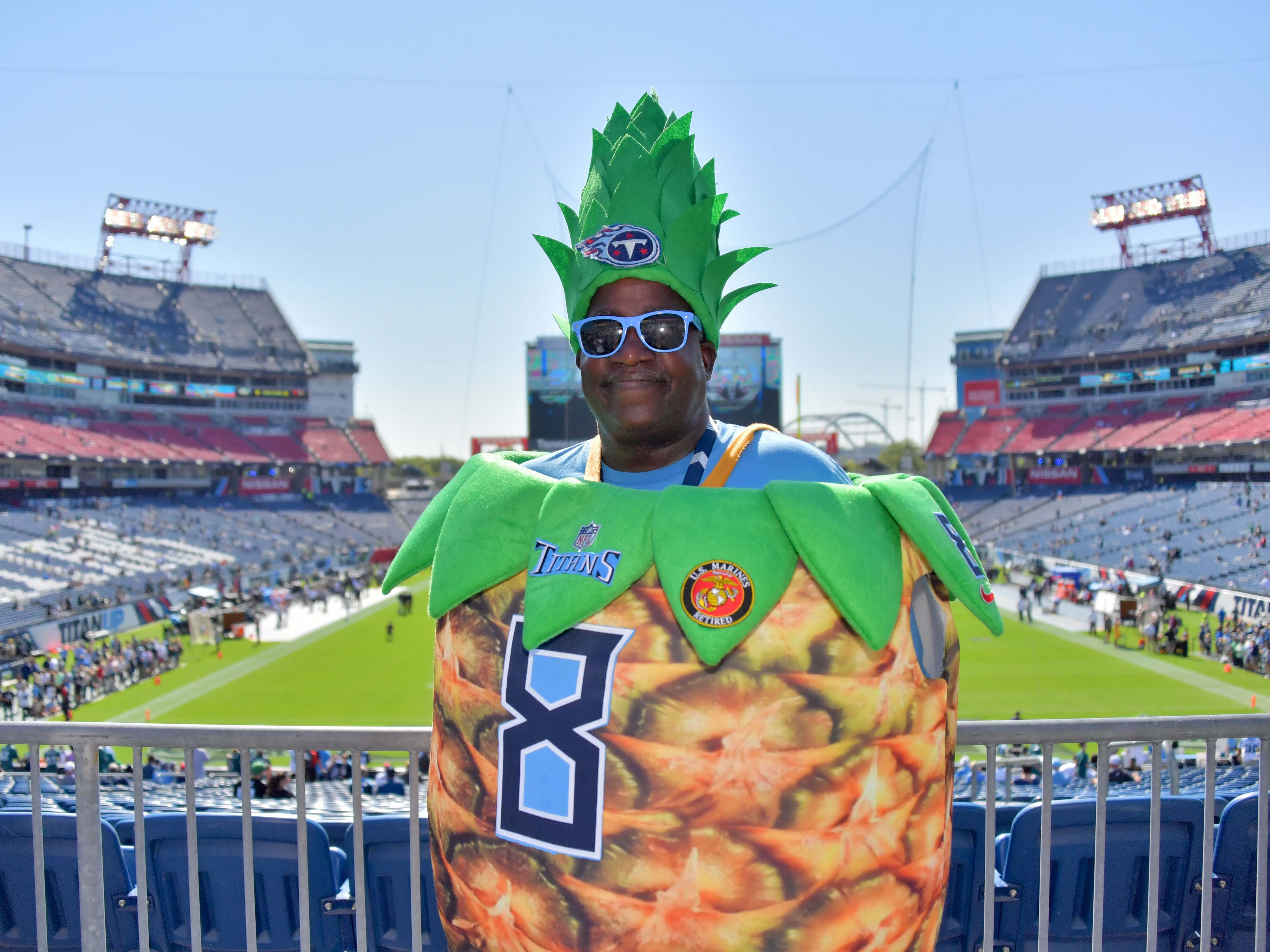 Tennessee Titans fan Ron Wray of Nashville shows his support prior to the game against the Philadelphia Eagles at Nissan Stadium.