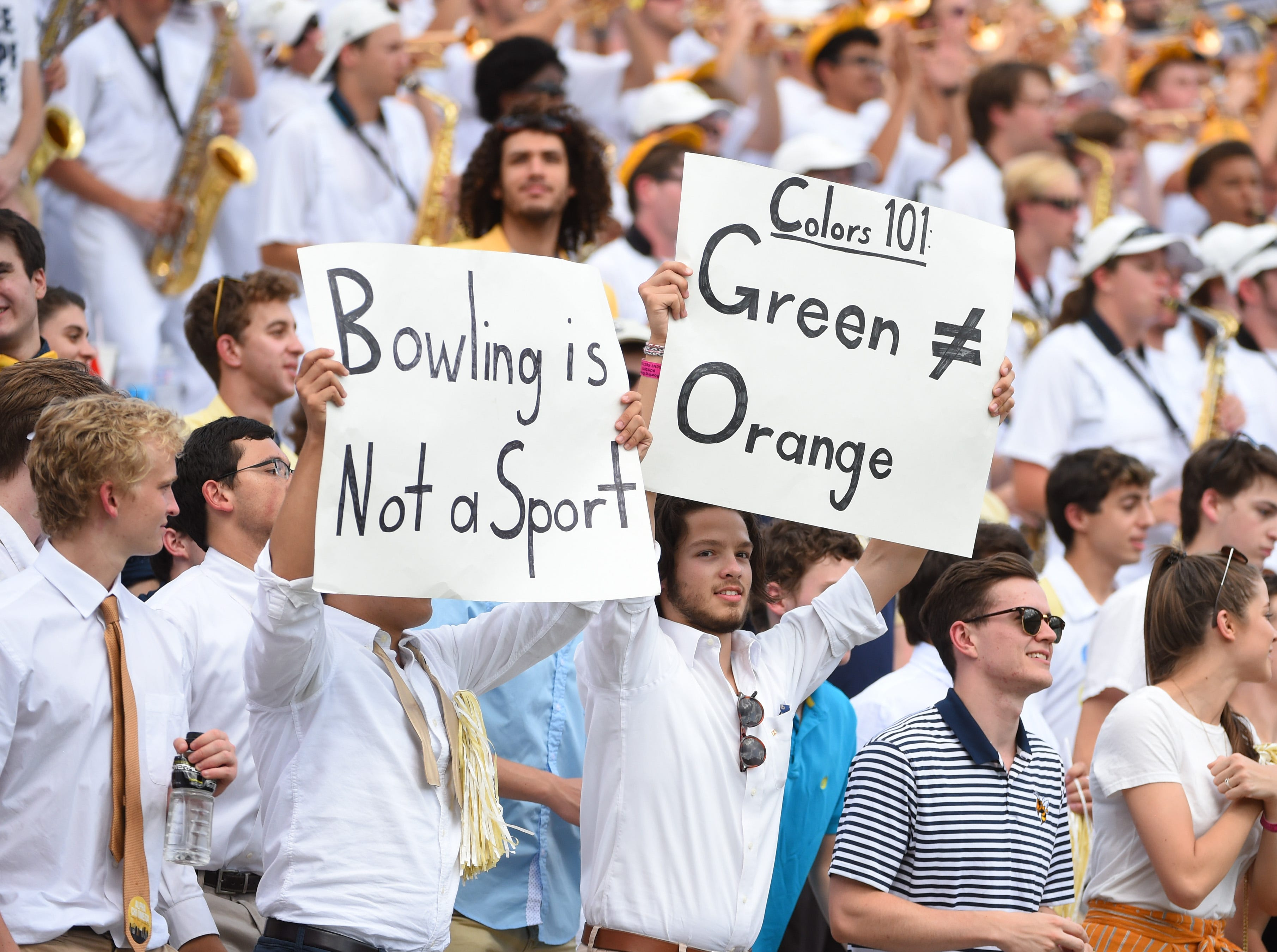 Week 5: Georgia Tech Yellow Jackets fans hold up signs against the Bowling Green Falcons during the second half at Bobby Dodd Stadium.
