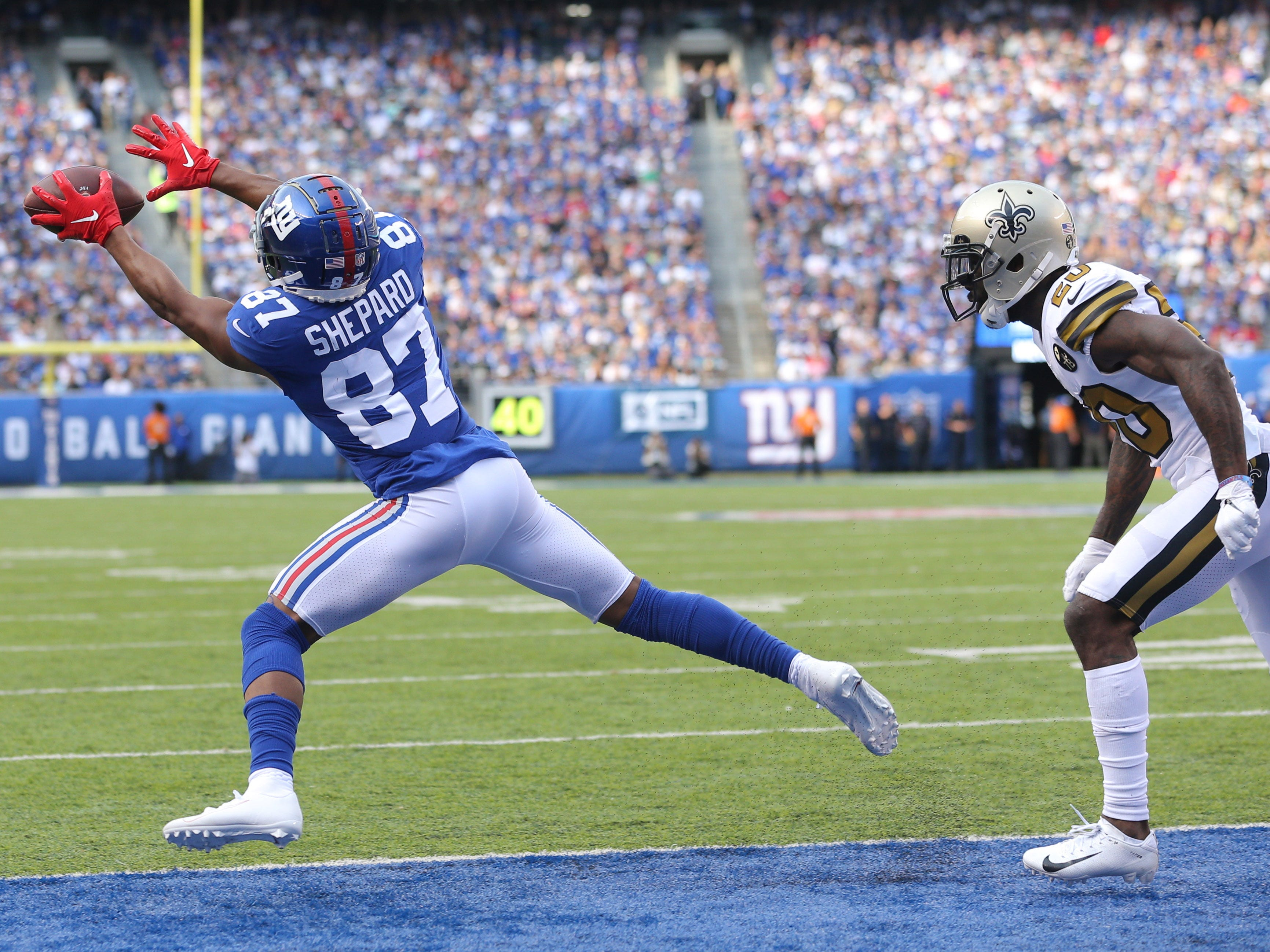 New York Giants wide receiver Sterling Shepard catches a touchdown pass against the New Orleans Saints.