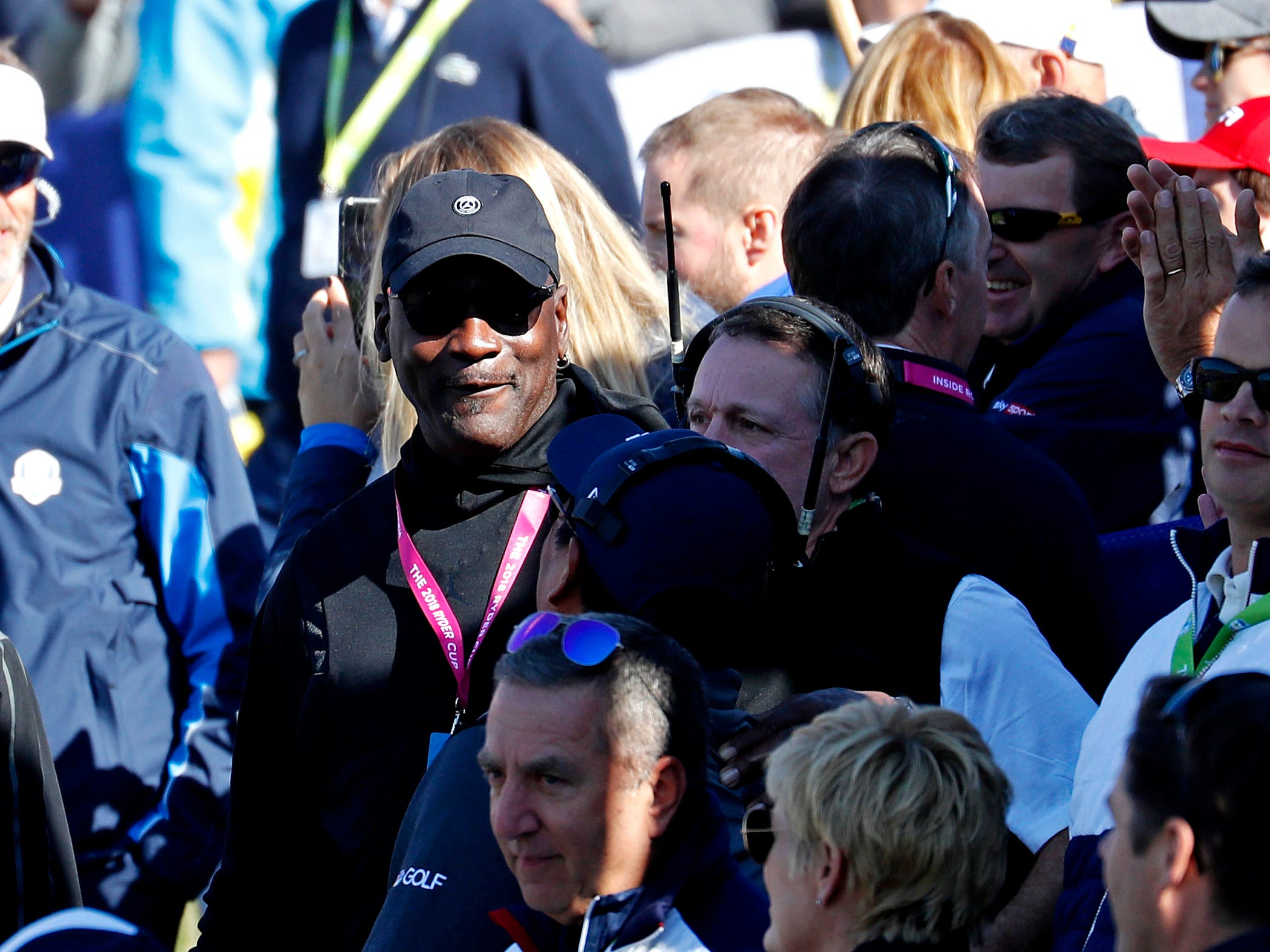 Michael Jordan on the first tee during the Sunday singles matches at Le Golf National.