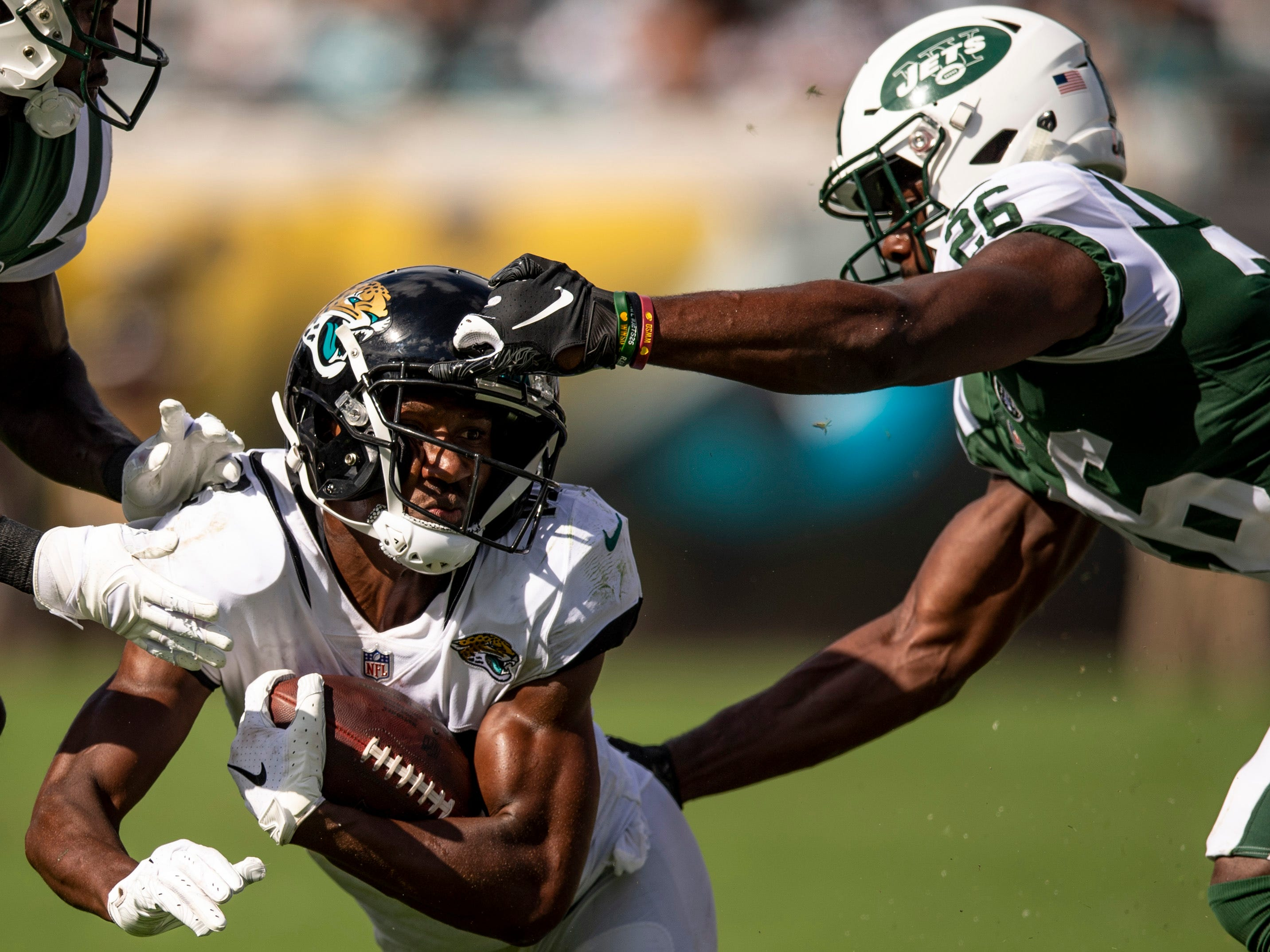 Jacksonville Jaguars wide receiver Dede Westbrook is tackled by New York Jets safety Marcus Maye during the second half at TIAA Bank Field.