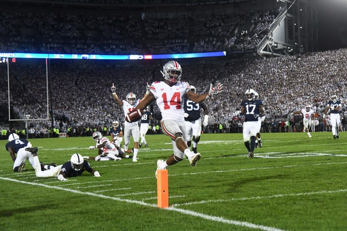 Ohio State Buckeyes wide receiver K.J. Hill crosses the goal line to score the game-winning touchdown in the fourth quarter against Penn State.
