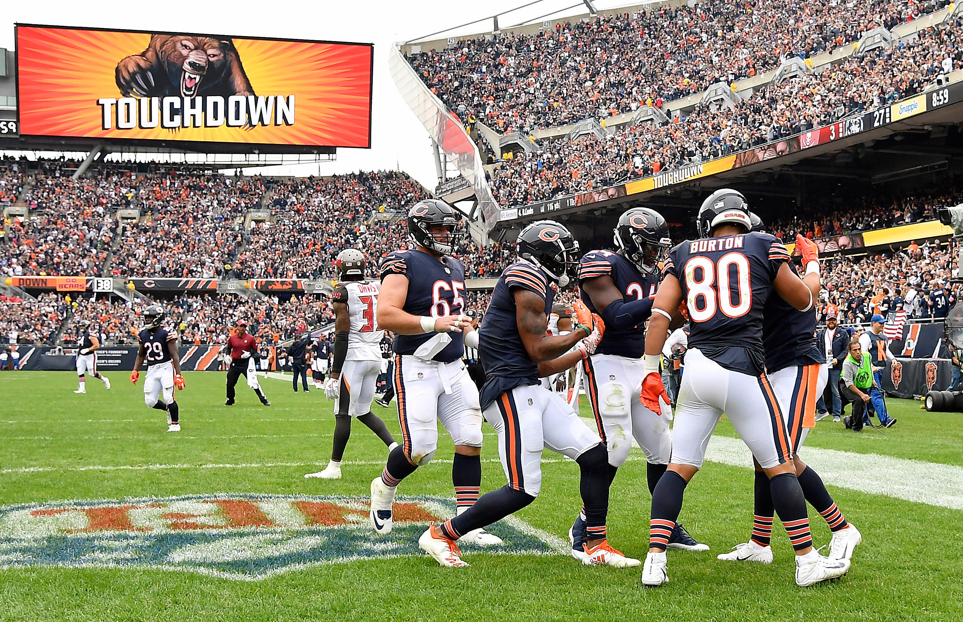 The Chicago Bears celebrate after wide receiver Josh Bellamy scored a touchdown in the second quarter against the Tampa Bay Buccaneers at Soldier Field.