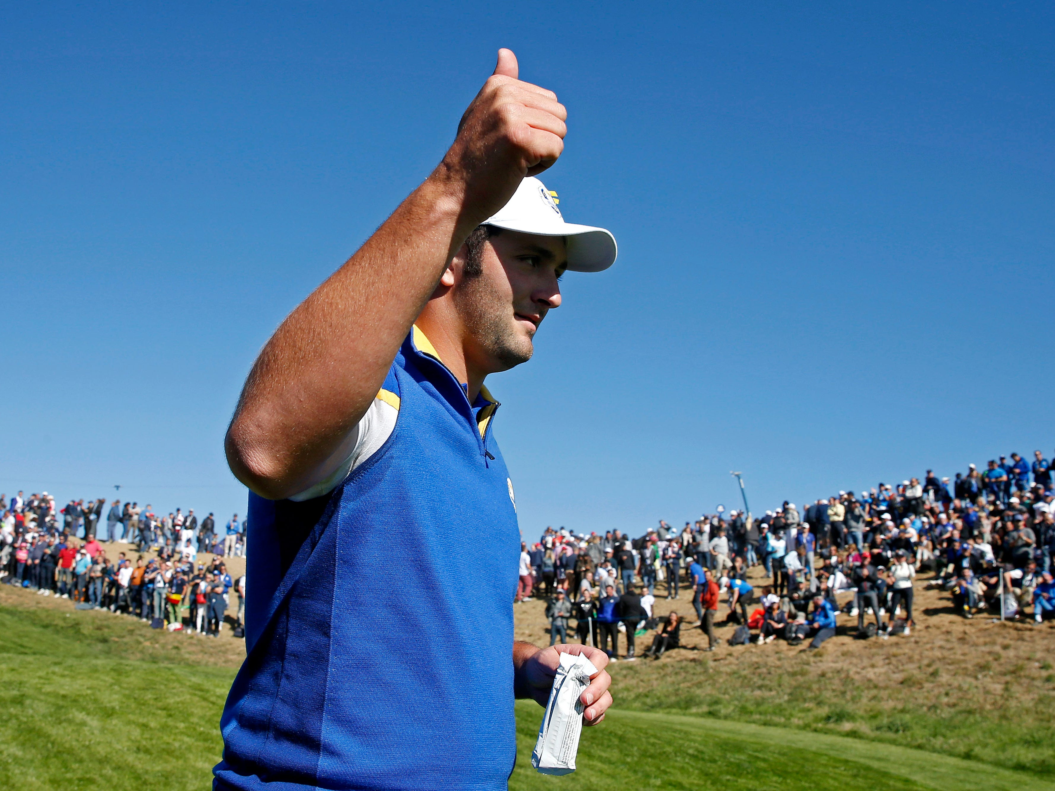Europe golfer Jon Rahm on the third hole during the Sunday singles matches.