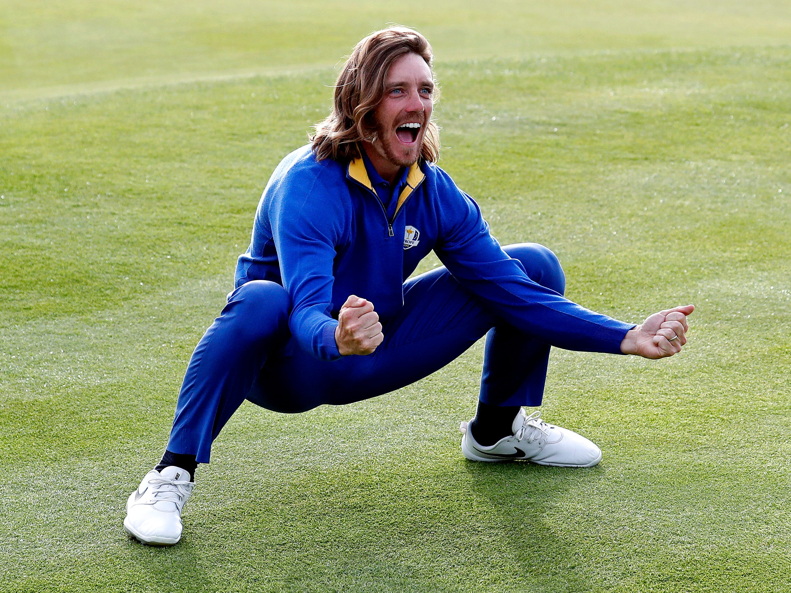 Tommy Fleetwood gets into the celebrations.