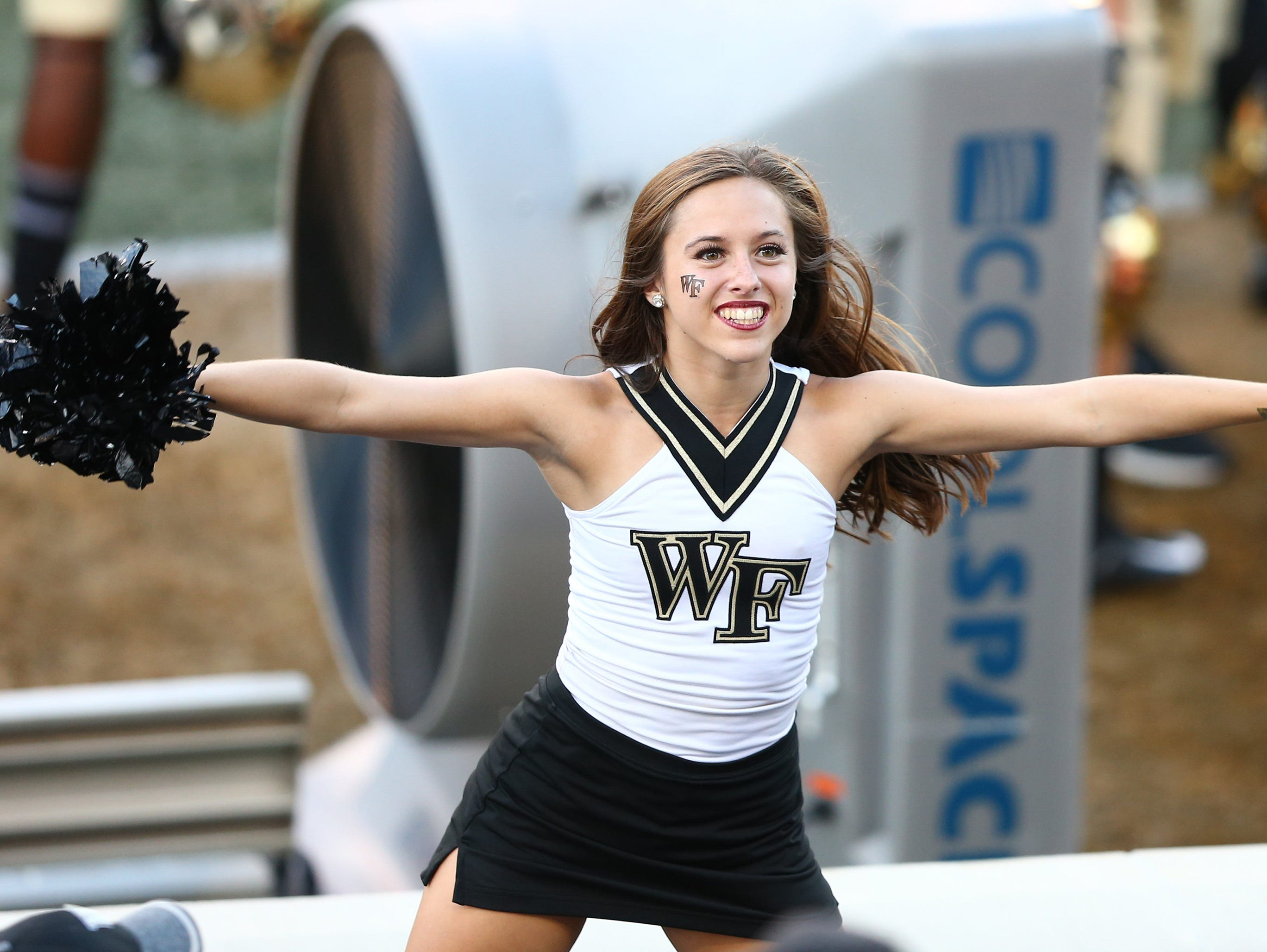 Week 5: A Wake Forest Demon Deacons dance team member performs in the second half against the Rice Owls at BB&T Field.