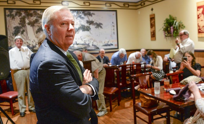 U.S. Sen. Lindsey Graham gets ready to speak at the 1st Monday Club of Anderson at Master's Wok in Anderson on Monday, October 1, 2018.