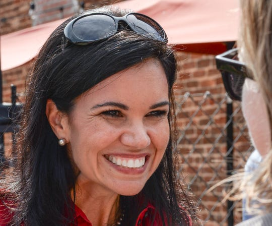 Running mate Rep. Mandy Powers Norell, with Rep. James Smith, Democratic nominee for South Carolina Governor, visit in the town square in Pendleton on Monday, October 1, 2018.