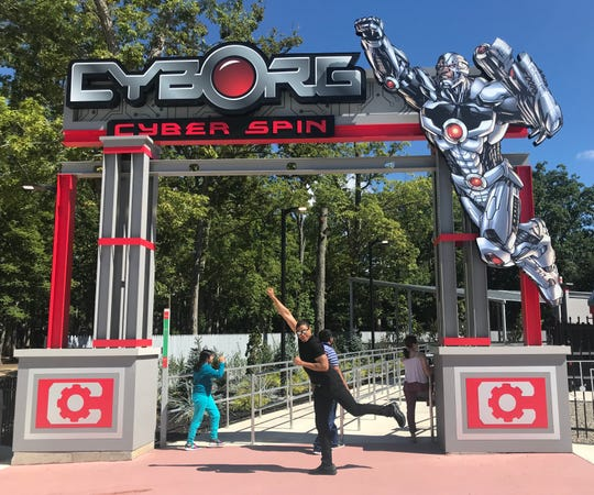 """""""Justice League"""" star Ray Fisher, who plays Cyborg, experienced Cyborg Cyber Spin at Six Flags Great Adventure in Jackson on Sept. 16, 2018."""