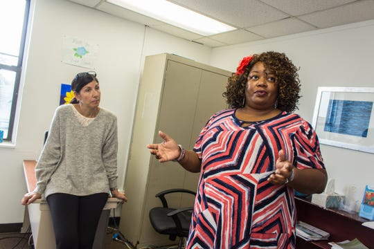 (L-R) Executive Director Susan Mazzeo and Shore House member Sherone Rogers discussing the mission of the Shore House.