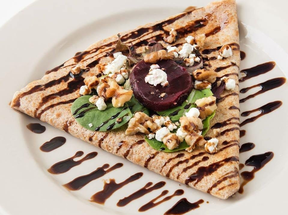 At Whipped Creperie in Red Bank, the bistro salad crepe is a savory crepe with roasted beets, goat cheese, walnuts, arugula and a balsamic drizzle.
