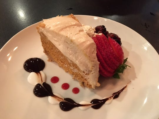 New to downtown Battle Creek, Kitchen Proper features gourmet food with beautiful plating such as this pumpkin cheesecake.