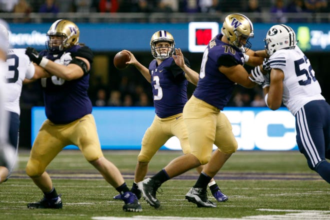 Washington quarterback Jake Browning has plenty of time to set his feet and find receivers on Saturday against Brigham Young, thanks to improved play by the Huskies' offensive line.