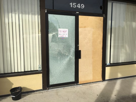 A bullet shattered the glass door of Blue Diamond Arcade in Cocoa.