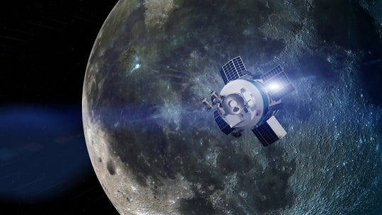 Artist rendering of Moon Express' MX-1E robotic lander approaching the moon.