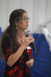 Aislynn Campbell speaks during a candidate forum for the Island United Political Action Committee in September 2018. Campbell is running for mayor.