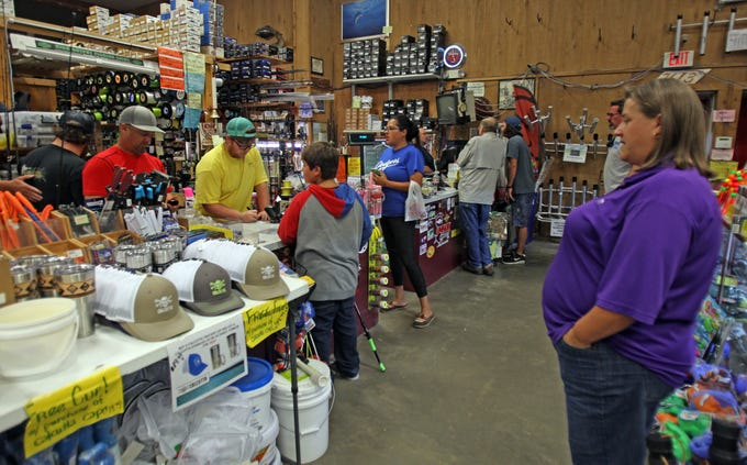 Jacob got a lot of attention at Roy's Bait & Tackle Outfitters while shopping for a new rod and reel.