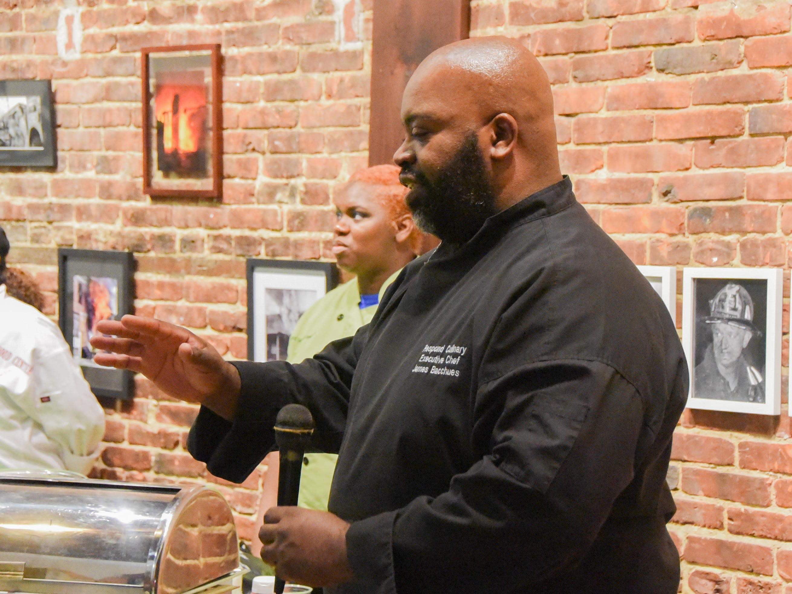 Respond Culinary Executive Chef James Bacchues speaks during the #WasteNot for CFET event at the FireWorks Gallery in South Camden on Saturday, September 29, 2018.  The Courier-Post partnered with the Farm & Fisherman Tavern in Cherry Hill and other community organizations to hold the event that offered a special tasting, farm tour and community conversation about reducing food waste.