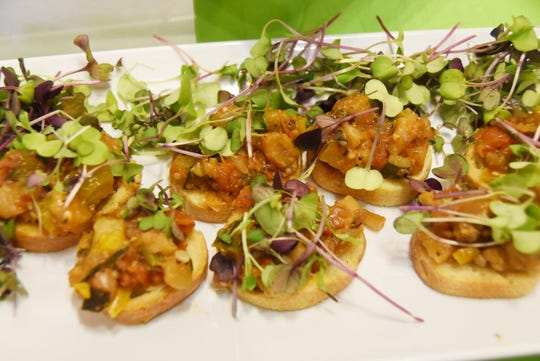 Eggplant caponata offered by Cathedral Kitchen at a 2018 #WasteNot for CFET event at the FireWorks Gallery in South Camden