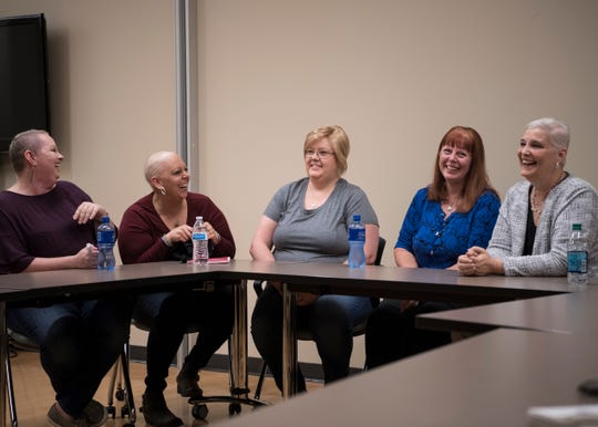 Samantha Mullins, Rebecca Crabtree, Sherry Howard, Barbara Needham, and Charla Matthuews met at the Adena Cancer Center to talk about their experiences with cancer and share their personal stories about how life is like living with cancer.