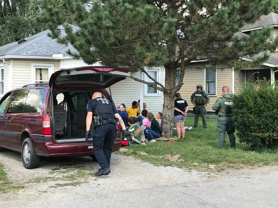 There were at least 13 people detained when Chillicothe police's SWAT team and the Ohio Highway Patrol executed a drug search warrant at 613 Glencroft Ave. on Monday afternoon.
