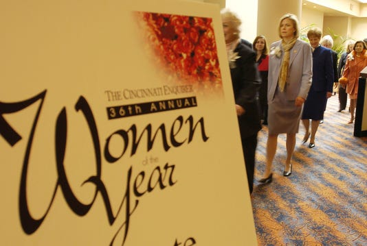 Thursday March 18 2004 Women Metro The Cincinnati Enquirer S36th Annual Women Of The Year Luncheon Was Held At The Hyatt Hotel Downtown Honorees From A Wide Spectrum Of Life Were Inducted Into The Ranks Filled With Civic Activists Philanthropists Politicians Humanitarians And The Like Left To Rgt Honorees Nancy Schellbous Conner Partially Hidden Diane Dewbrey And Karen Bennett Hoeb Cincinnati Enquirer Michael E Keating Mek