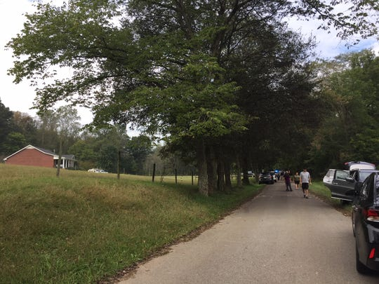 The scene where a man was killed and his Ford truck stolen on Monday in Montgomery County, where authorities searched for Kirby Wallace.