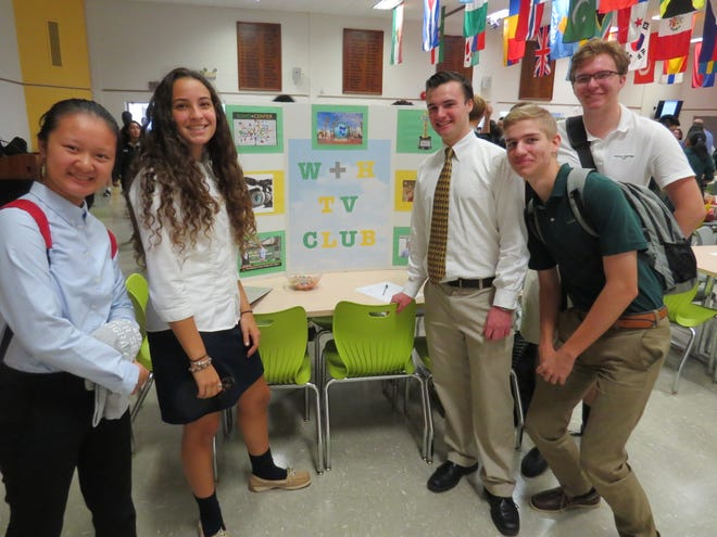 Laura Chen of Fords, Ariana Di Landro of Elizabeth, Tim McDonald of Green Brook, JJ Stueck of Scotch Plains and William Rehwinkel of Scotch Plains sign up for the W+H TV Club.