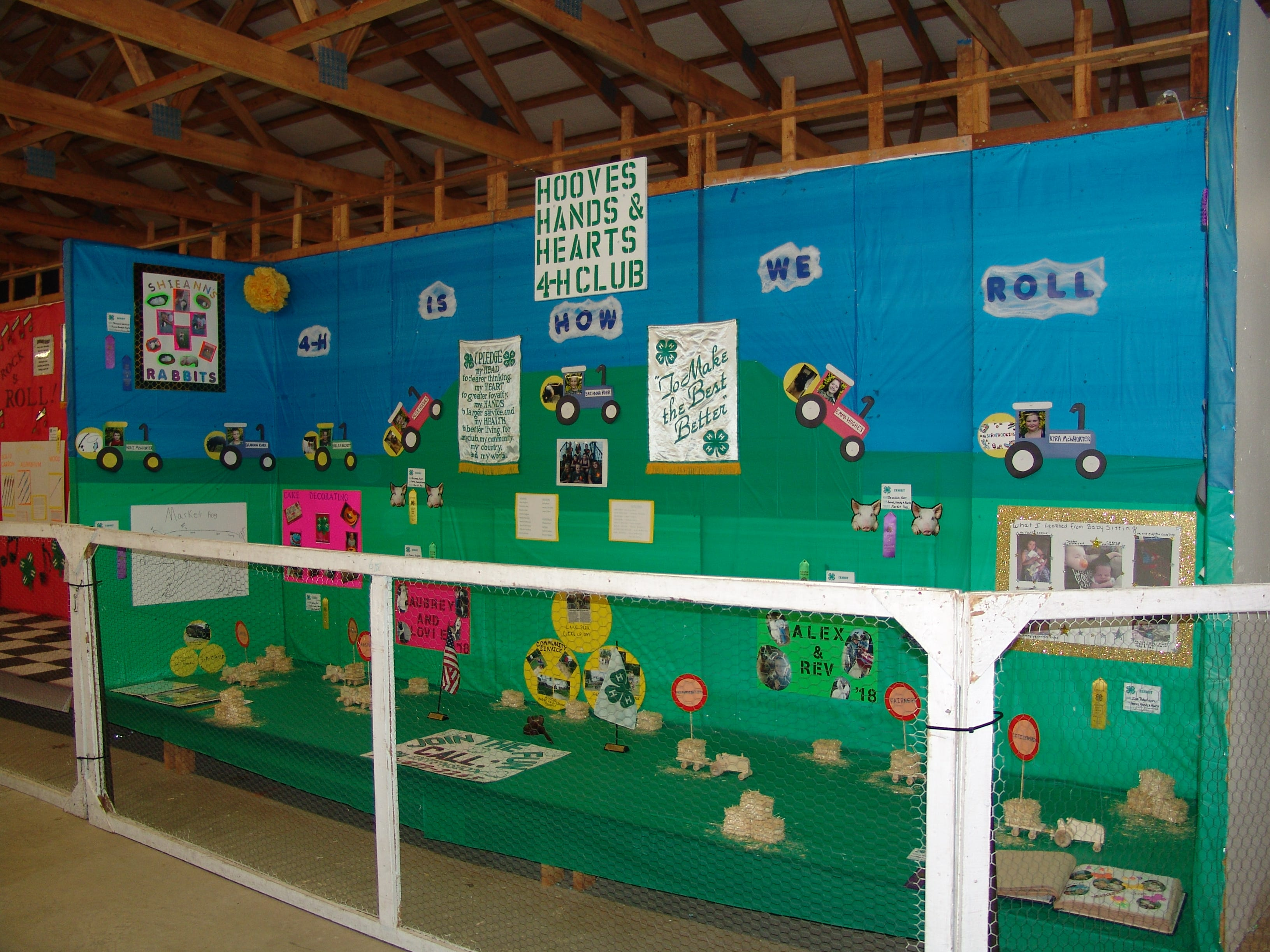 An exhibit in the Youth Building by the Hooves, Hands, and Hearts 4-H club.