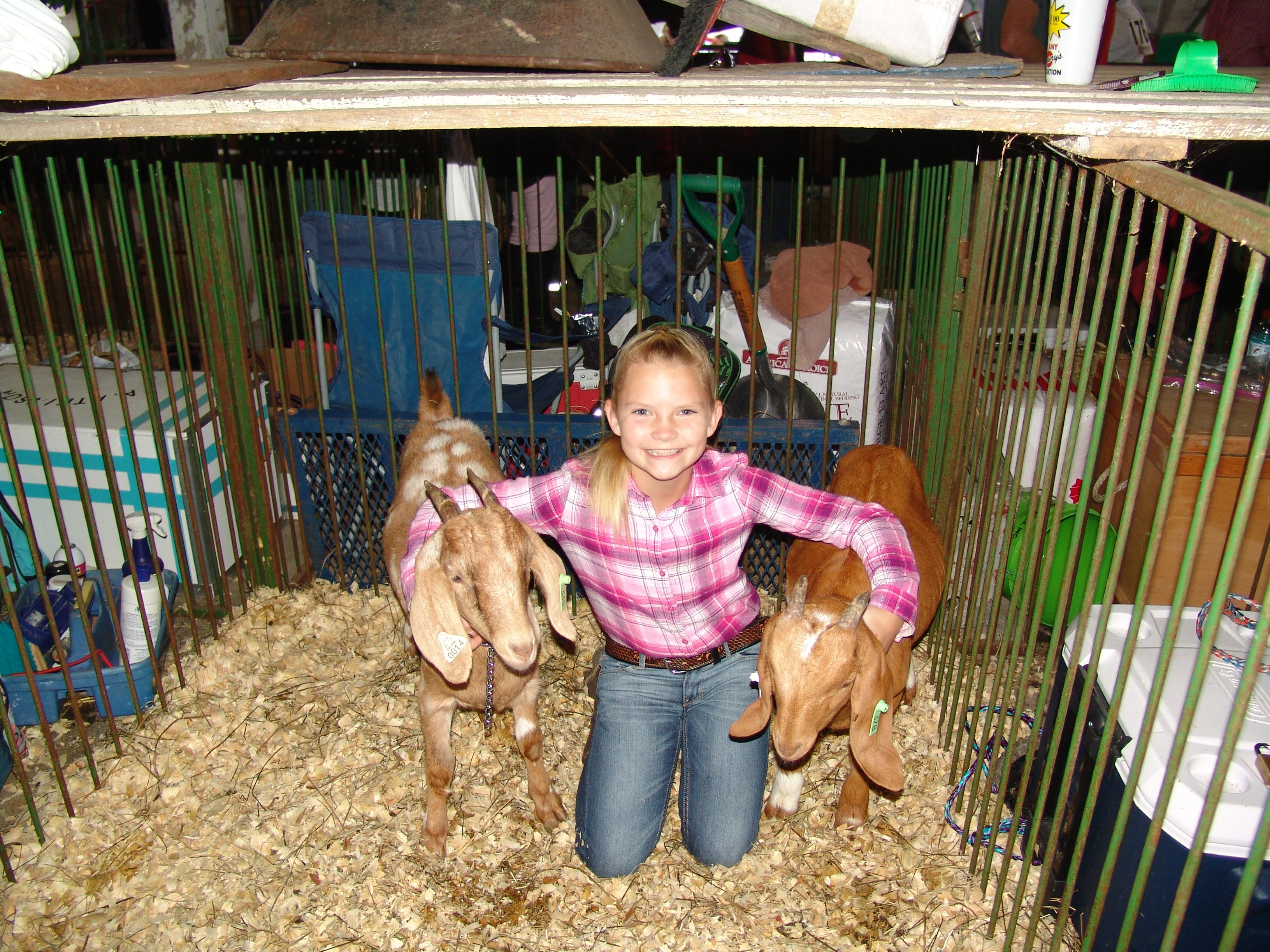 Miciah Cahill poses with her two meat goats, Dots and Kyle, before the Jr. Fair Goat Show.