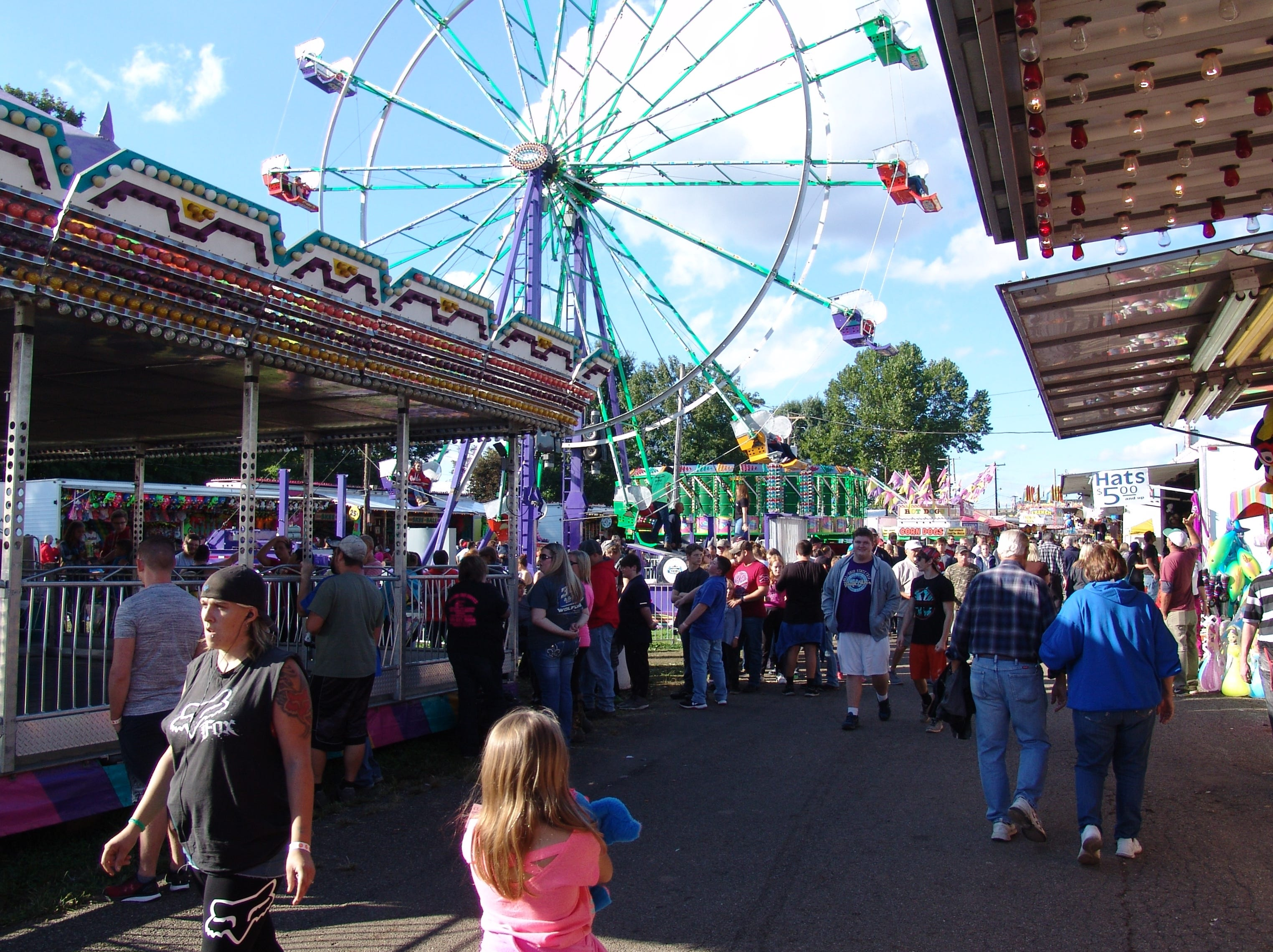 The midway Saturday evening at the Coshocton County Fair.