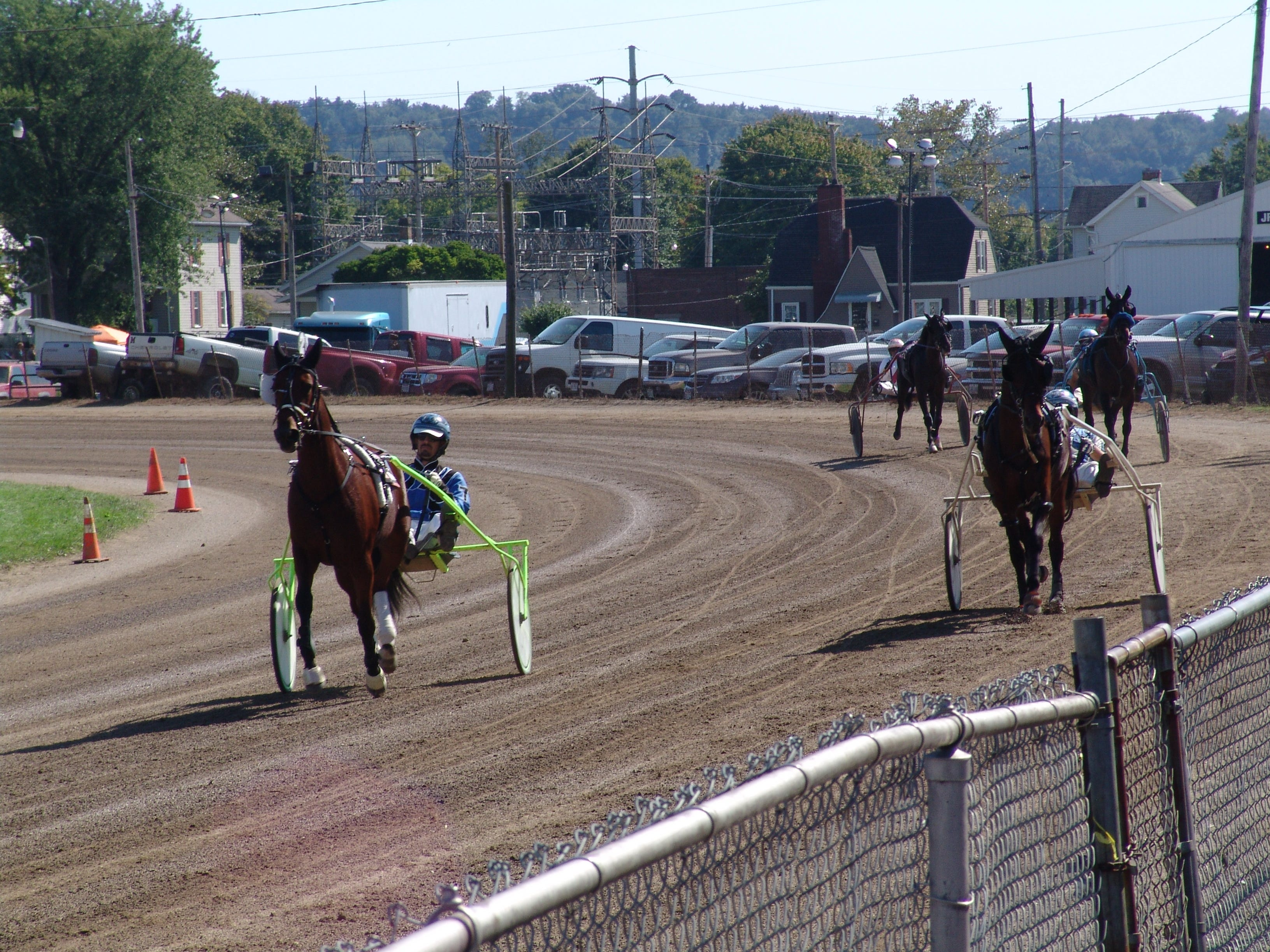 Harness racing Sunday at the grandstand at the Coshocton County Fair.