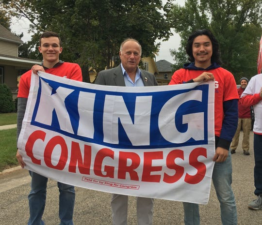Rep. Steve King before start of Algona, Iowa, parade on Sept. 29, 2018. On his left is Jarad Rhoads, and on right is Myles Staples, both Iowa State University students.
