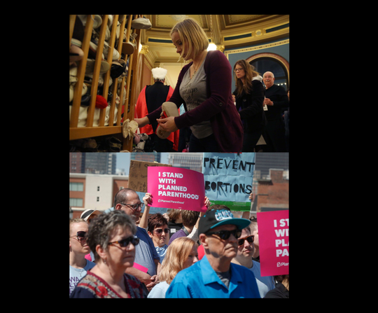 Iowa abortion access supporters and opponents