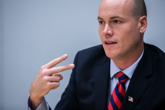 J.D. Scholten, Democratic candidate for Iowa's 4th Congressional District, meets with the Des Moines Register on Monday, Oct. 1, 2018, in Des Moines. Scholten is running against Republican congressman Steve King and Libertarian challenger David Aldrich.