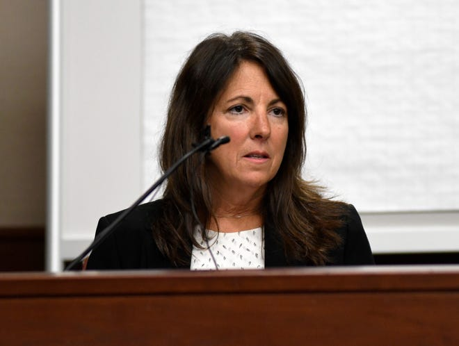 Livingston County Judge Theresa Brennan gives testimony during her judicial misconduct proceeding Monday in 16th District Court in Livonia.