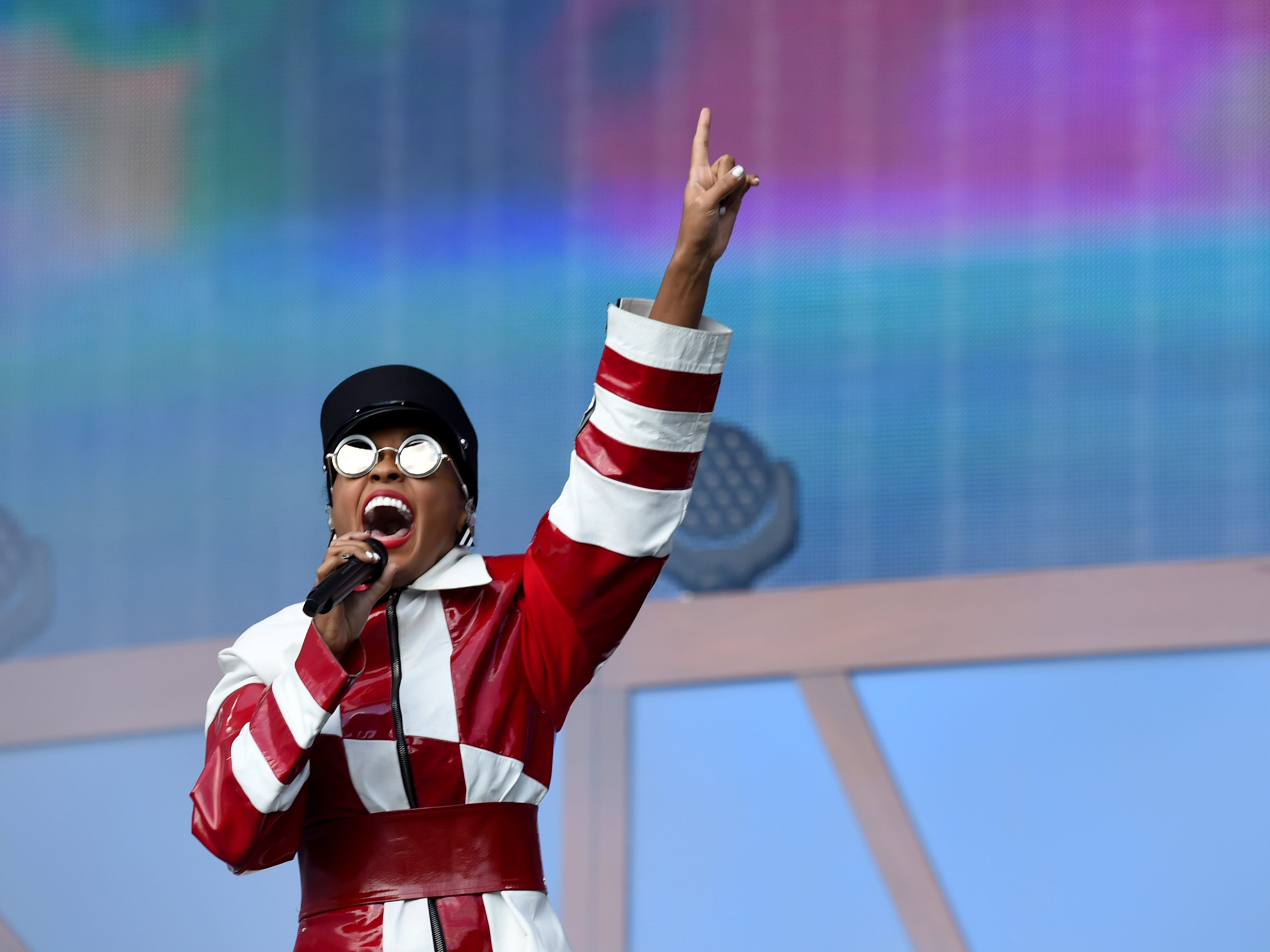 Singer Janelle Monae performs at the 2018 Global Citizen Festival in Central Park on Saturday, Sept. 29, 2018, in New York.