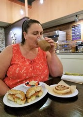 Deb Miller of WIKY joined us for a vegan breakfast at the Daily Grind. She pronounced the vegan cinnamon roll and iced latte scrumptious.