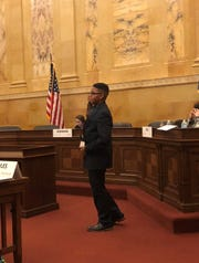George Koonce Jr. debates his bill at the Assembly. He was named an Outstanding Assembly Delegate.
