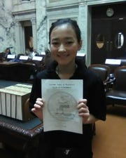 Emerson Vahlsing is pictured after winning her Supreme Court case at Model Government in Madison.